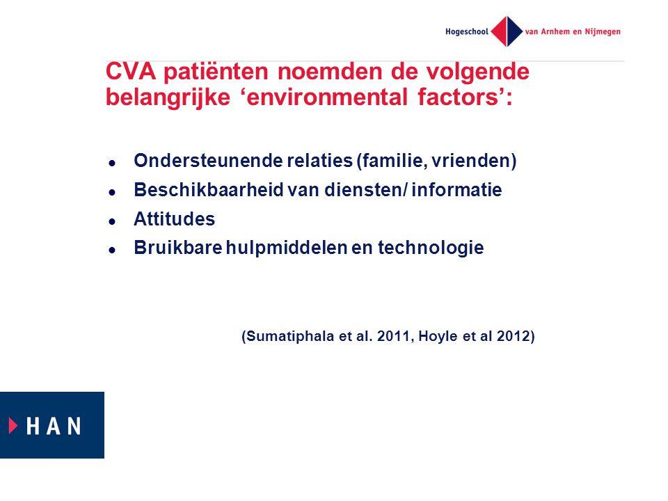 CVA patiënten noemden de volgende belangrijke 'environmental factors':