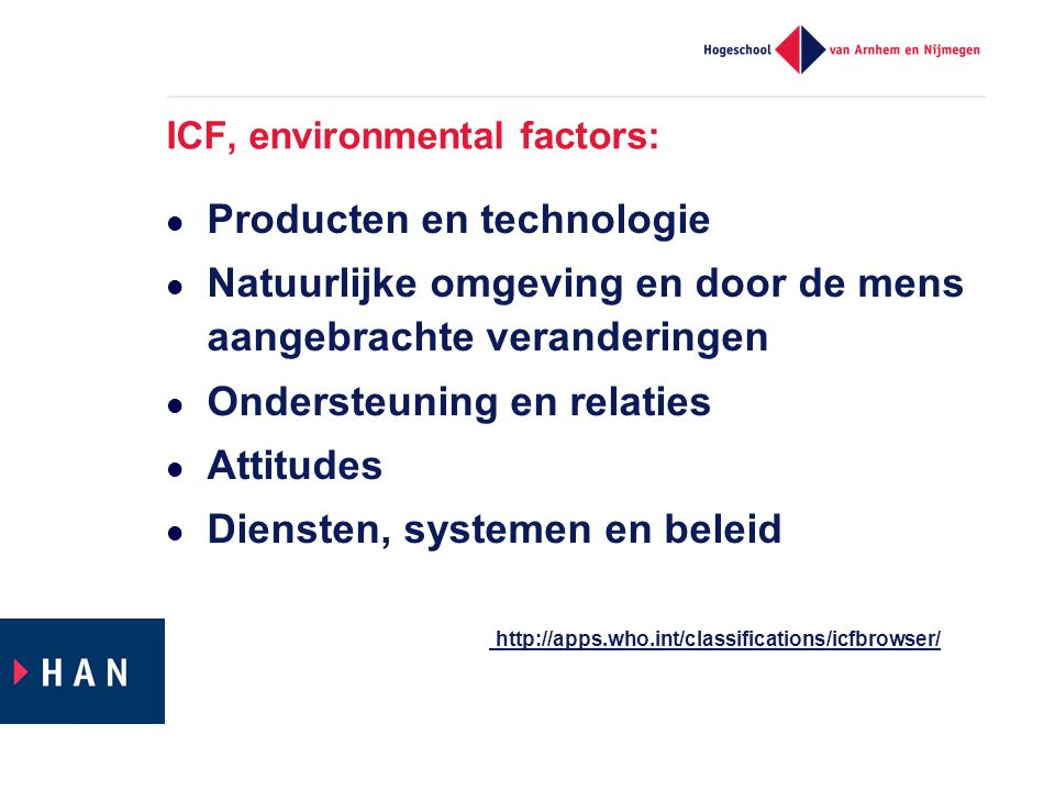 ICF, environmental factors:
