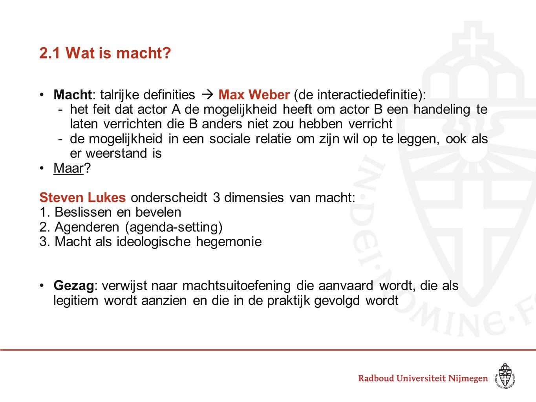 2.1 Wat is macht Macht: talrijke definities  Max Weber (de interactiedefinitie):