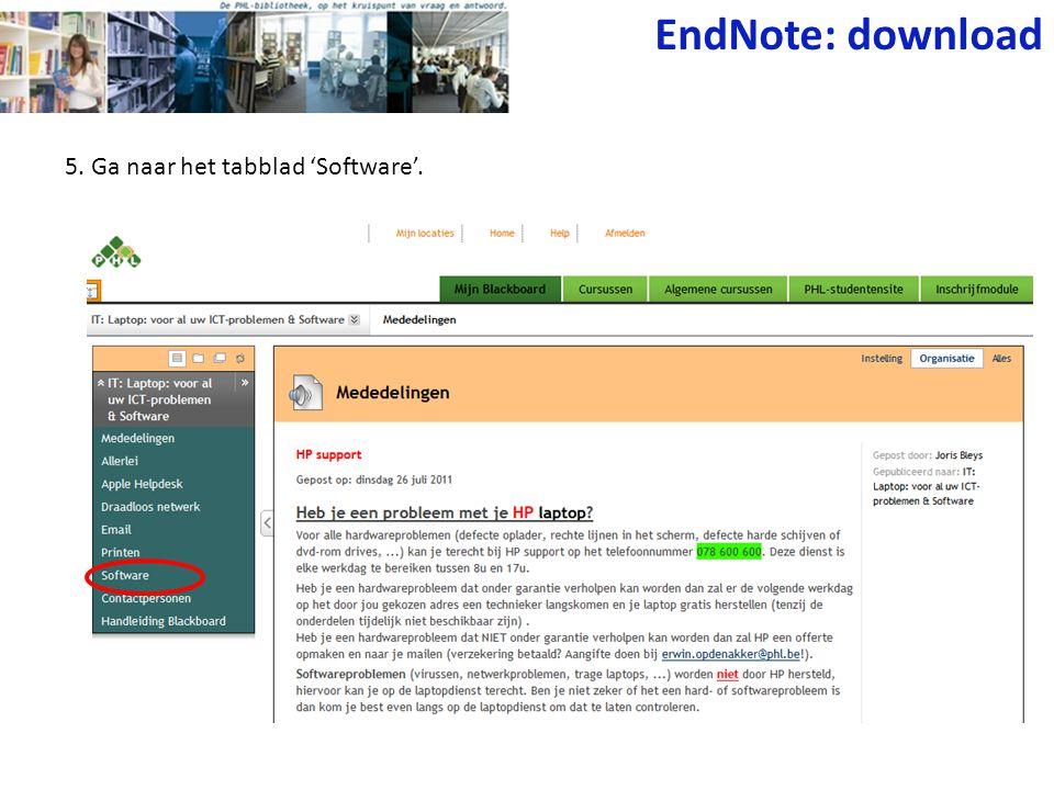 EndNote: download 5. Ga naar het tabblad 'Software'.