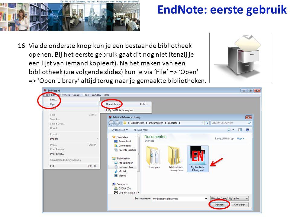 EndNote: eerste gebruik