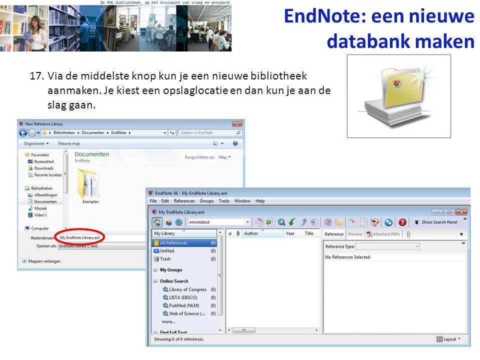 EndNote: een nieuwe databank maken