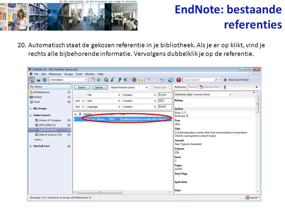 EndNote: bestaande referenties