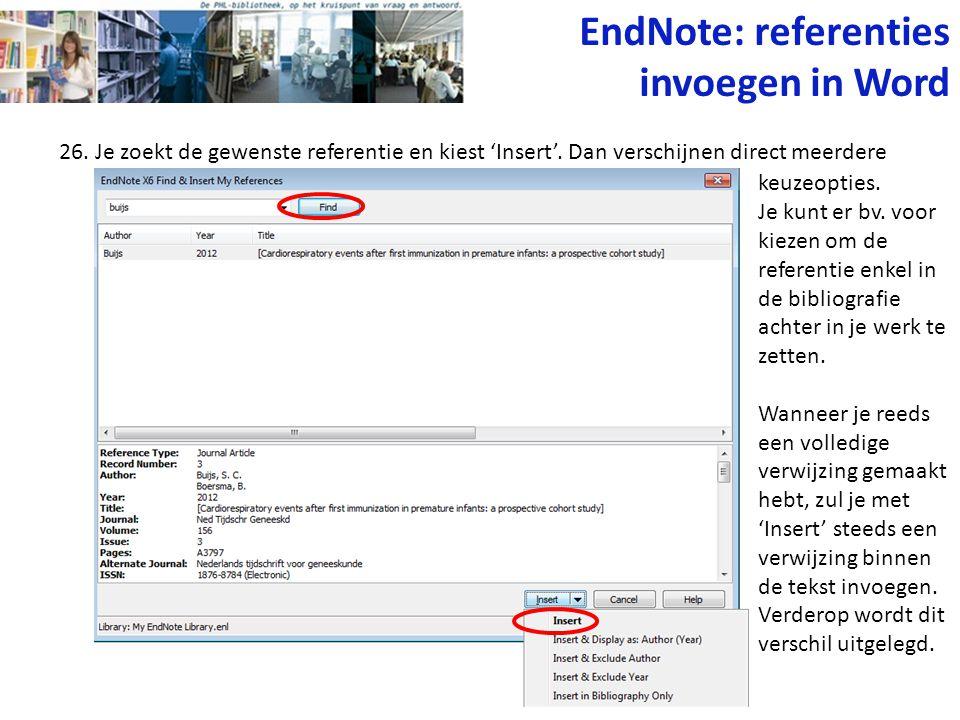 EndNote: referenties invoegen in Word