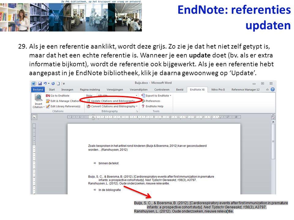 EndNote: referenties updaten