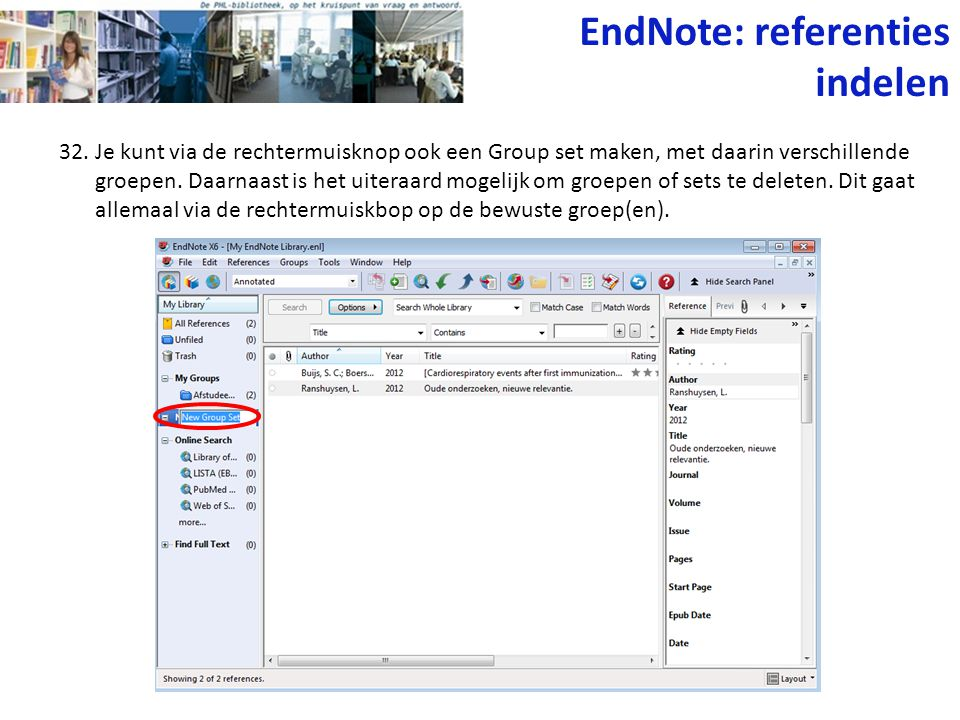 EndNote: referenties indelen