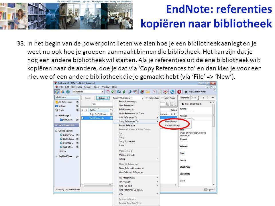 EndNote: referenties kopiëren naar bibliotheek