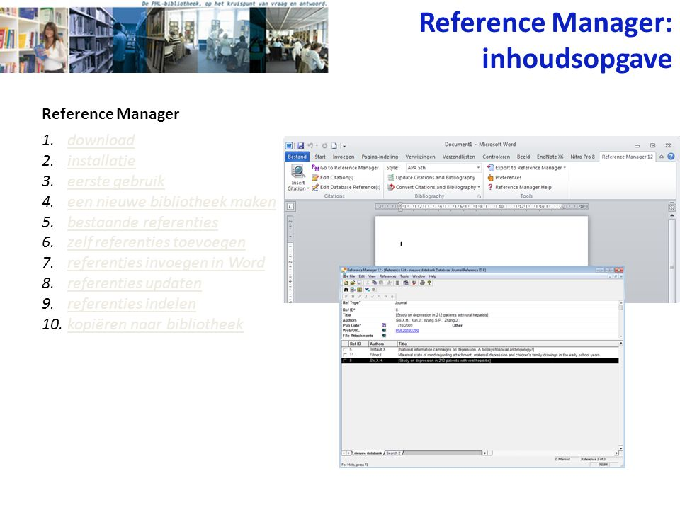 Reference Manager: inhoudsopgave