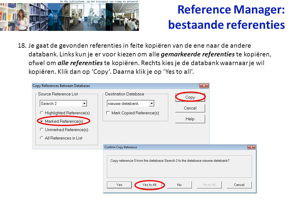 Reference Manager: bestaande referenties