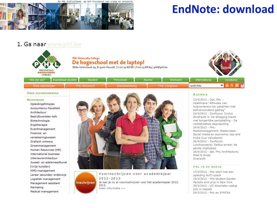 EndNote: download 1. Ga naar www.phl.be
