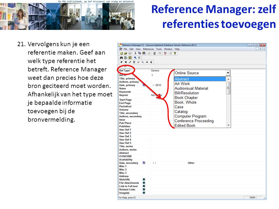 Reference Manager: zelf referenties toevoegen