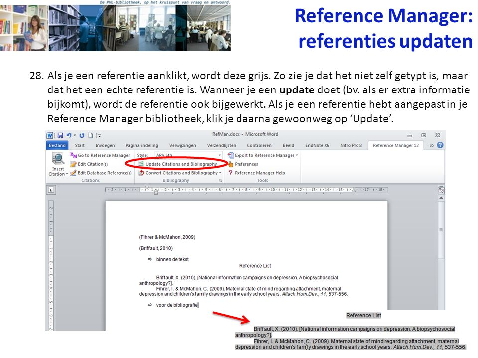 Reference Manager: referenties updaten