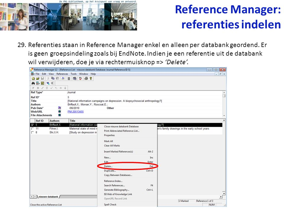 Reference Manager: referenties indelen