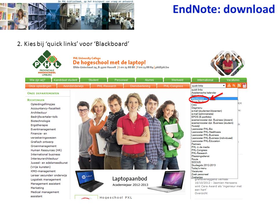 EndNote: download 2. Kies bij 'quick links' voor 'Blackboard'
