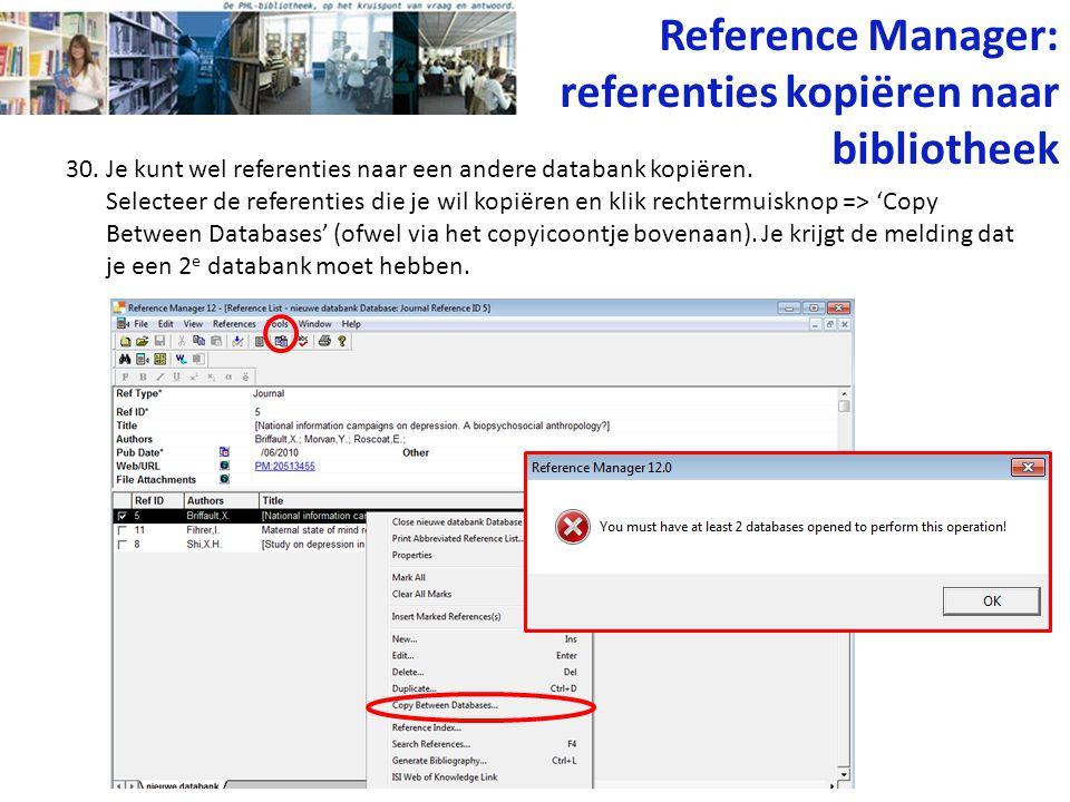 Reference Manager: referenties kopiëren naar bibliotheek