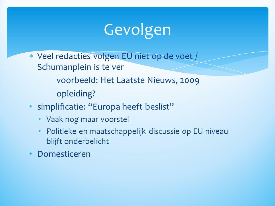 Gevolgen Veel redacties volgen EU niet op de voet / Schumanplein is te ver. voorbeeld: Het Laatste Nieuws, 2009.
