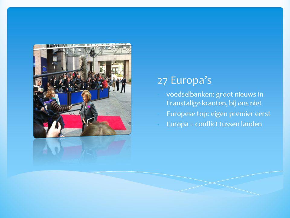 27 Europa's voedselbanken: groot nieuws in Franstalige kranten, bij ons niet. Europese top: eigen premier eerst.