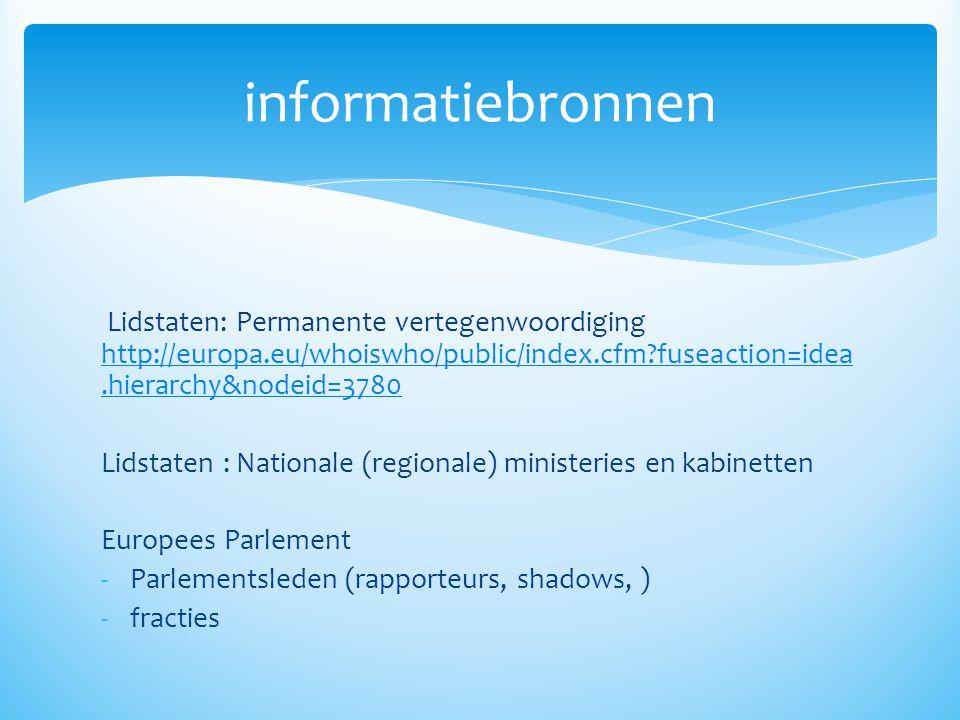 informatiebronnen Lidstaten: Permanente vertegenwoordiging http://europa.eu/whoiswho/public/index.cfm fuseaction=idea.hierarchy&nodeid=3780.