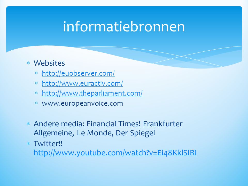 informatiebronnen Websites