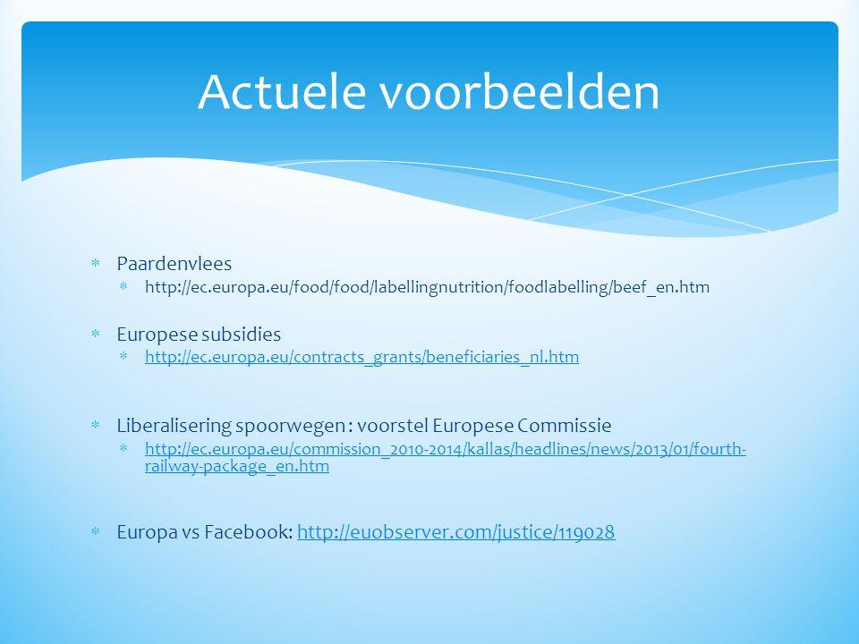 Actuele voorbeelden Paardenvlees Europese subsidies