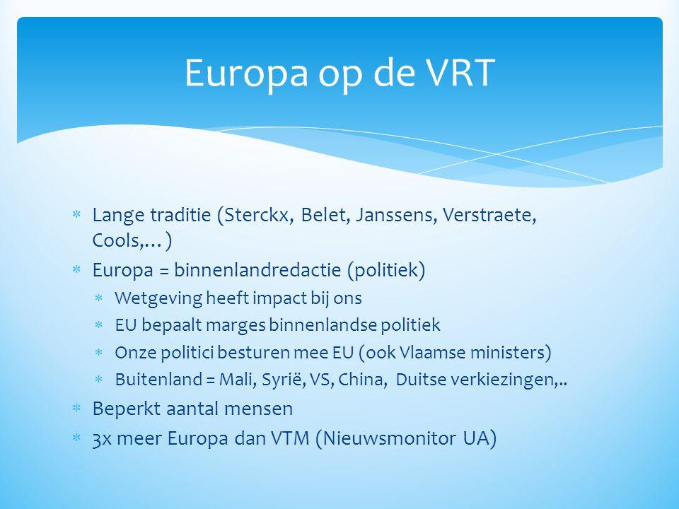 Europa op de VRT Lange traditie (Sterckx, Belet, Janssens, Verstraete, Cools,…) Europa = binnenlandredactie (politiek)