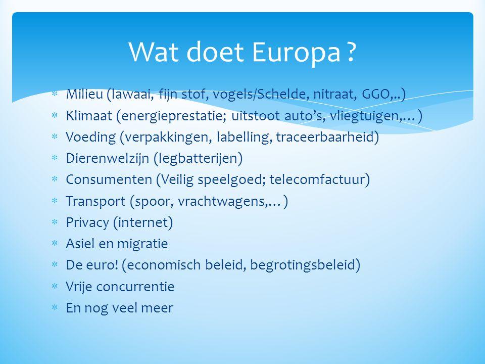Wat doet Europa Milieu (lawaai, fijn stof, vogels/Schelde, nitraat, GGO,..) Klimaat (energieprestatie; uitstoot auto's, vliegtuigen,…)