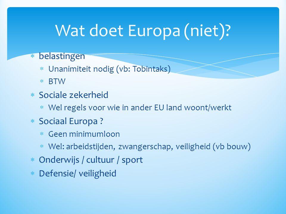 Wat doet Europa (niet) belastingen Sociale zekerheid Sociaal Europa