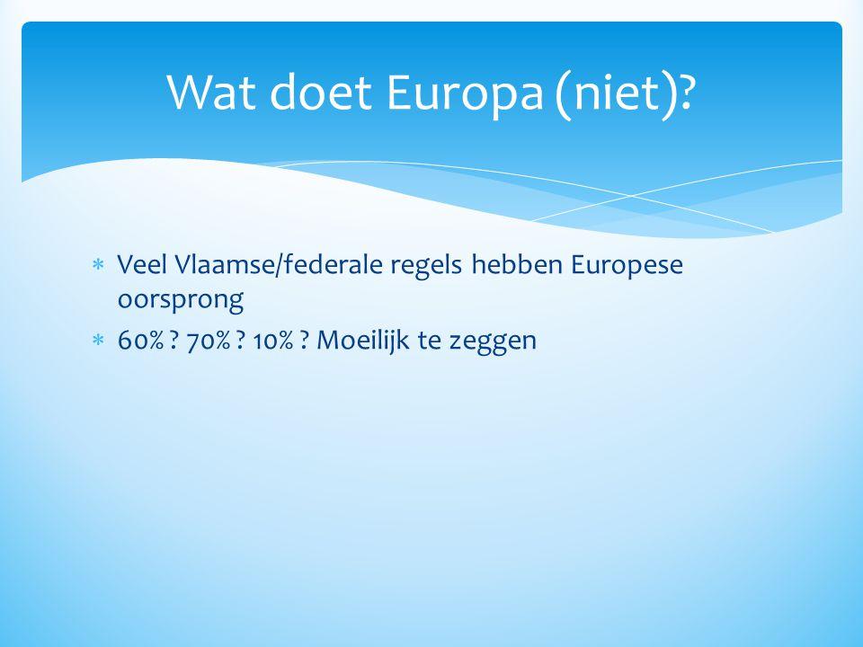 Wat doet Europa (niet). Veel Vlaamse/federale regels hebben Europese oorsprong.