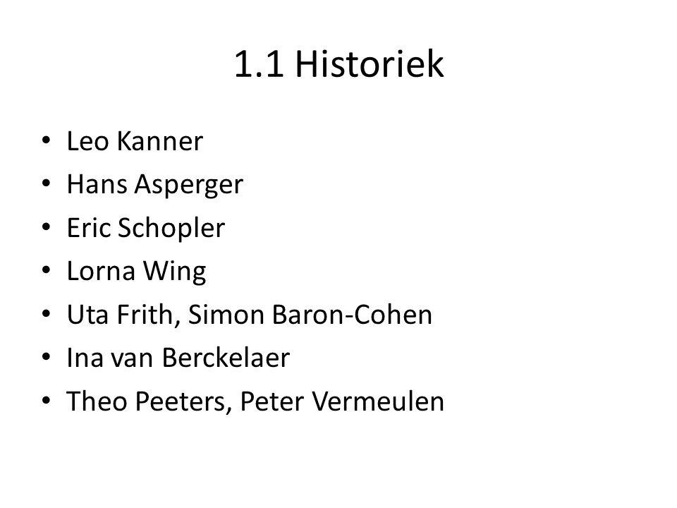 1.1 Historiek Leo Kanner Hans Asperger Eric Schopler Lorna Wing