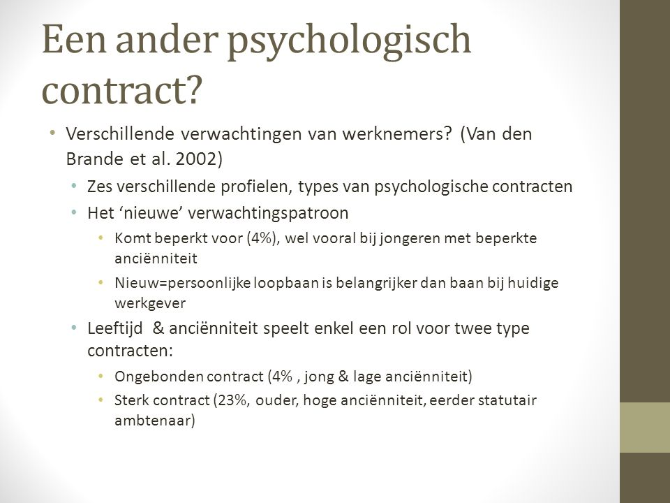Een ander psychologisch contract