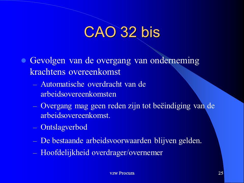 CAO 32 bis Gevolgen van de overgang van onderneming krachtens overeenkomst. Automatische overdracht van de arbeidsovereenkomsten.
