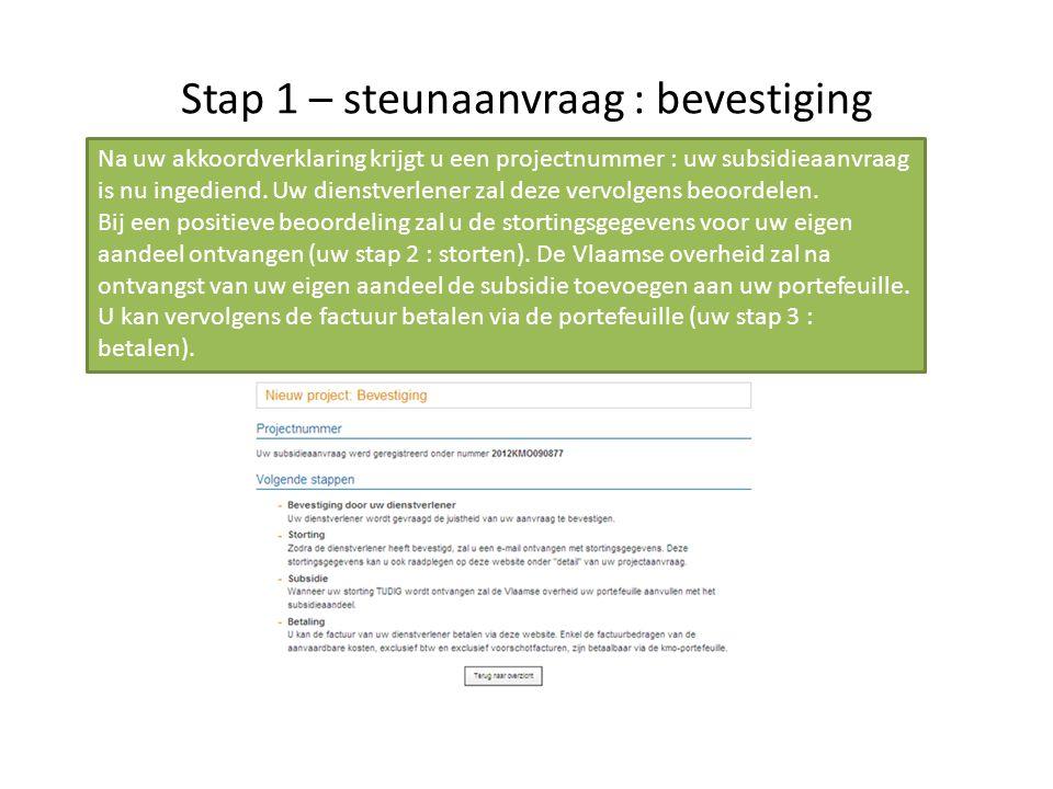 Stap 1 – steunaanvraag : bevestiging