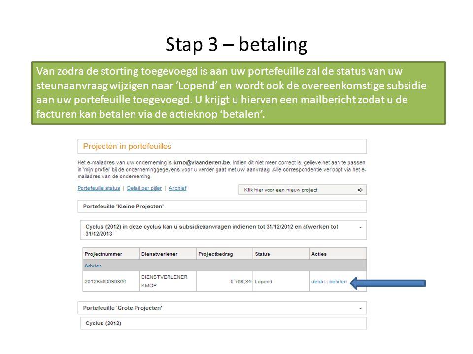 Stap 3 – betaling