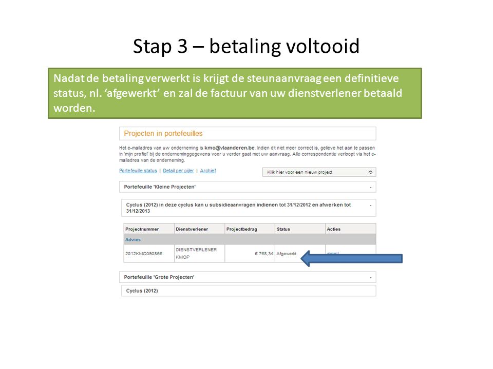 Stap 3 – betaling voltooid