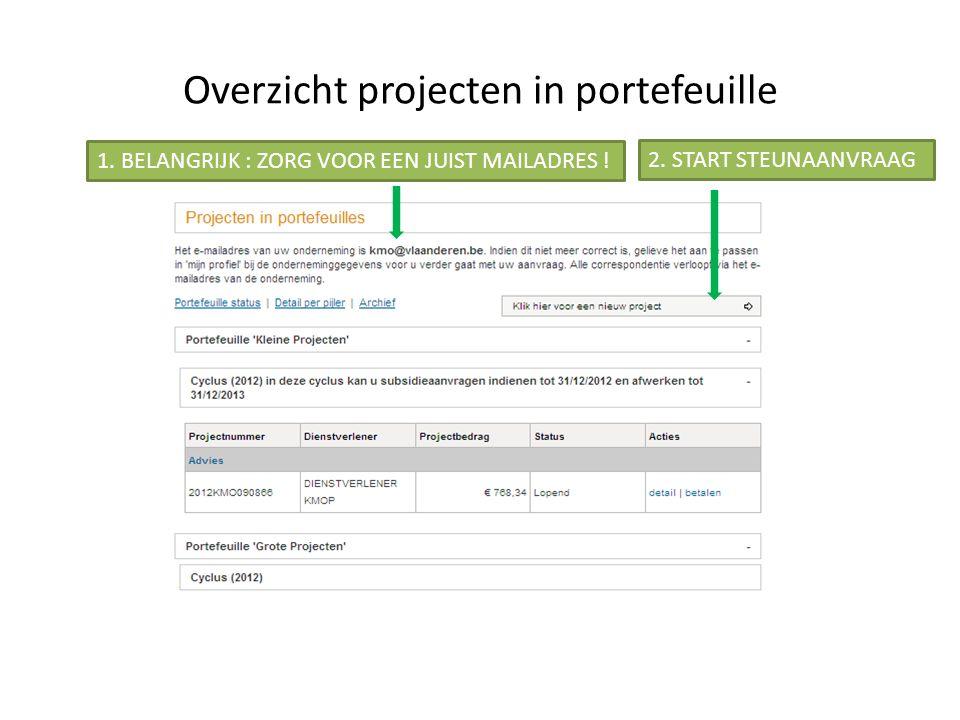 Overzicht projecten in portefeuille