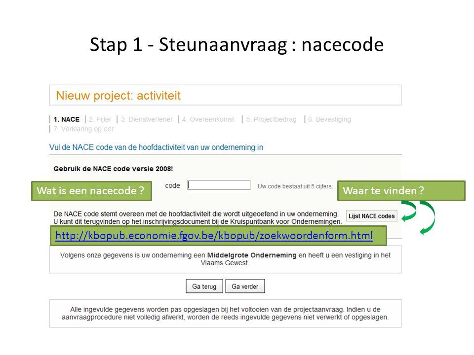 Stap 1 - Steunaanvraag : nacecode