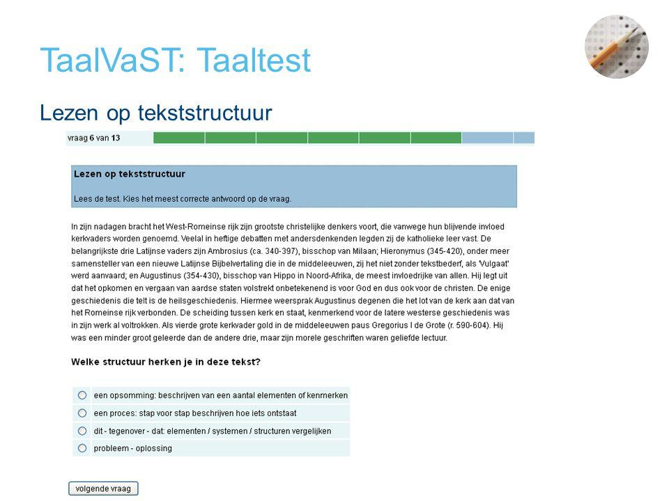 TaalVaST: Taaltest Lezen op tekststructuur