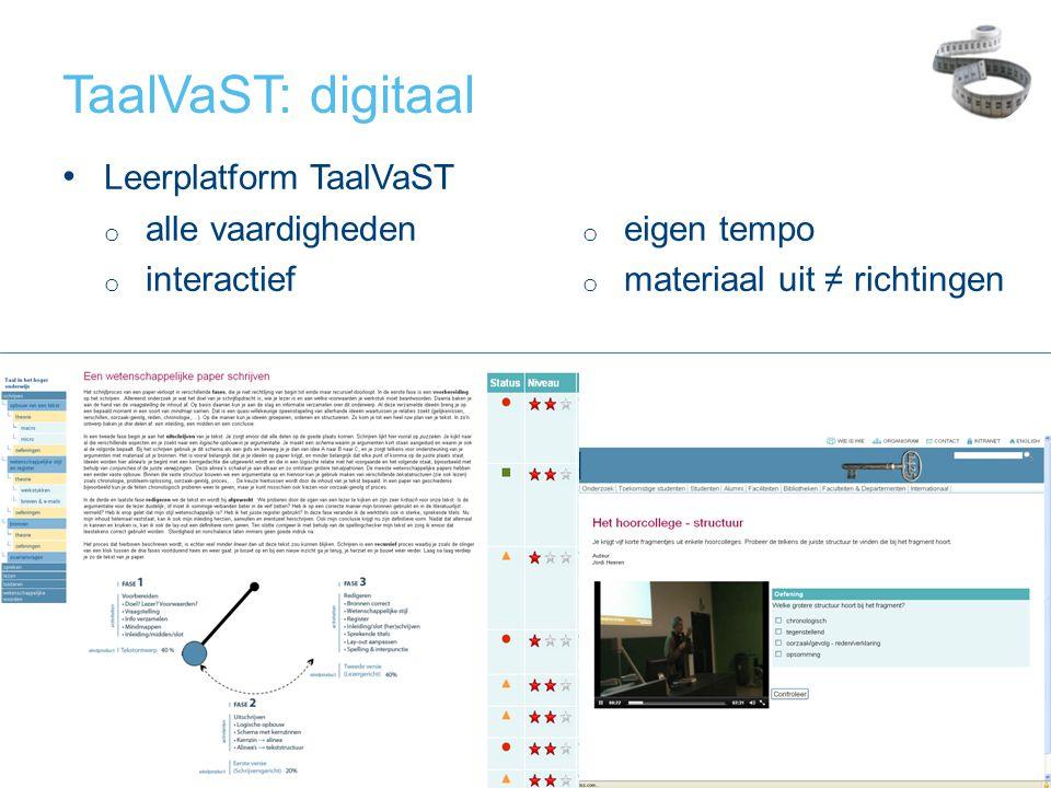 TaalVaST: digitaal Leerplatform TaalVaST alle vaardigheden eigen tempo