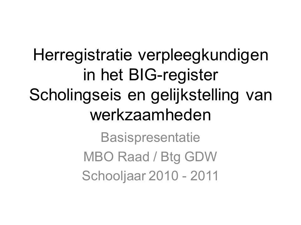 Basispresentatie MBO Raad / Btg GDW Schooljaar 2010 - 2011