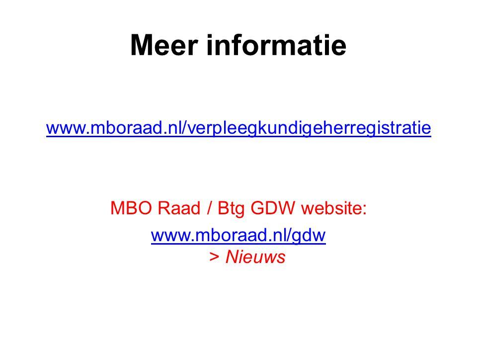 Meer informatie www.mboraad.nl/verpleegkundigeherregistratie