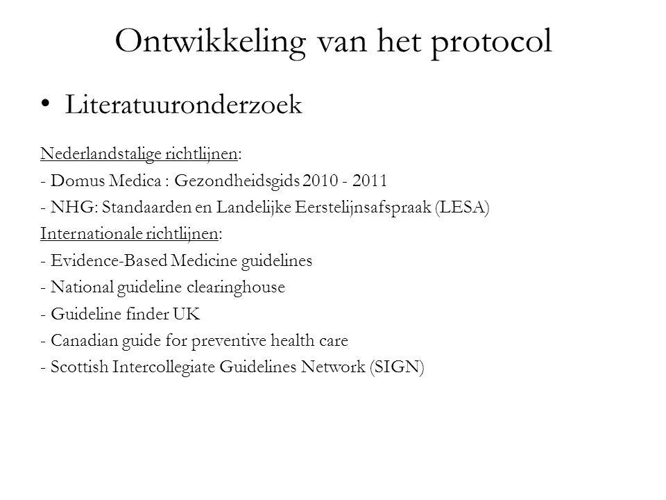 Ontwikkeling van het protocol