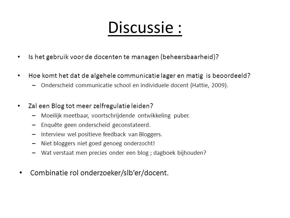 Discussie : Combinatie rol onderzoeker/slb'er/docent.