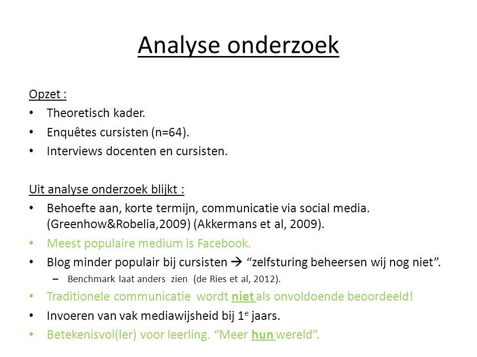 Analyse onderzoek Opzet : Theoretisch kader.