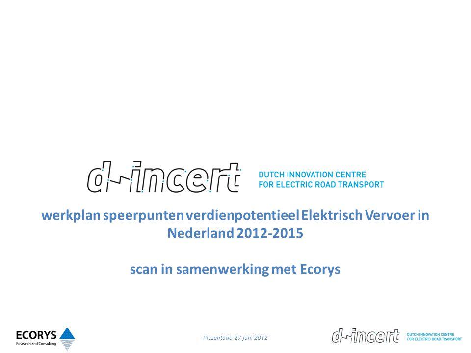 werkplan speerpunten verdienpotentieel Elektrisch Vervoer in Nederland 2012-2015 scan in samenwerking met Ecorys