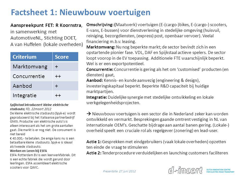 Factsheet 1: Nieuwbouw voertuigen