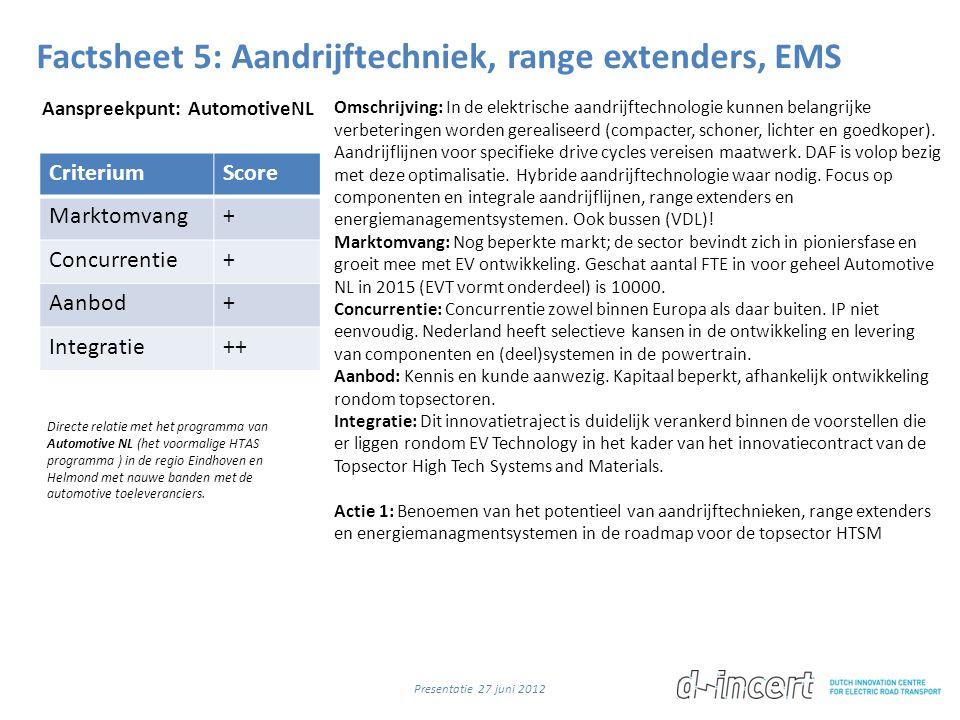 Factsheet 5: Aandrijftechniek, range extenders, EMS