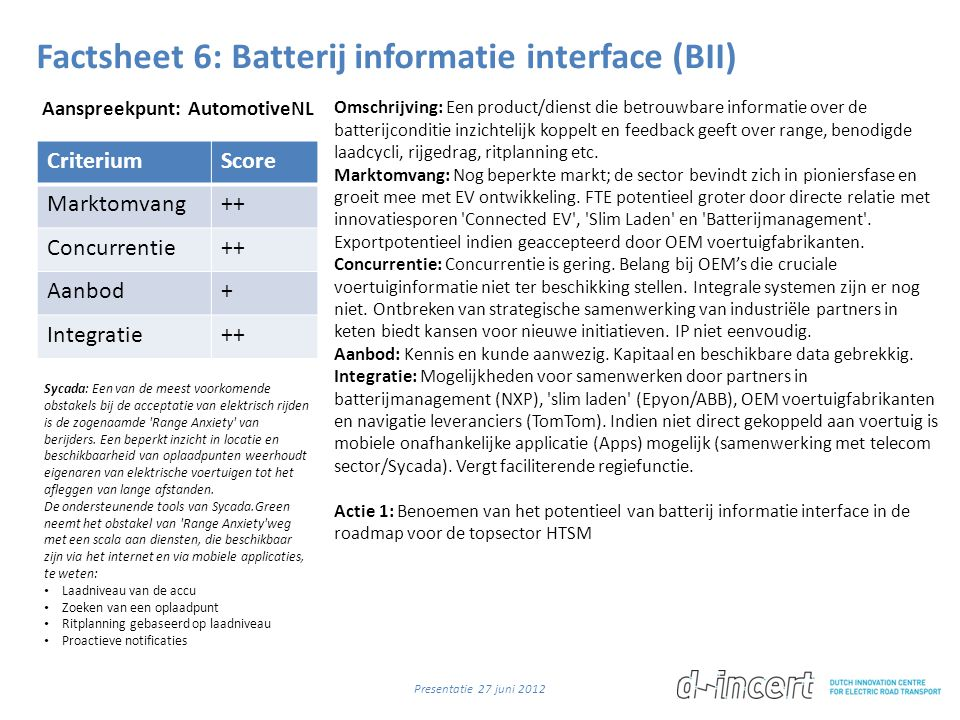Factsheet 6: Batterij informatie interface (BII)