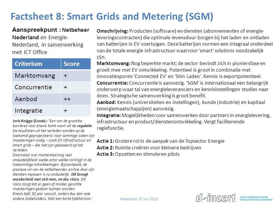 Factsheet 8: Smart Grids and Metering (SGM)
