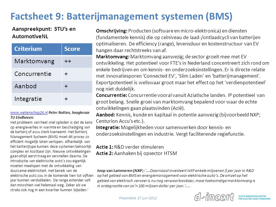 Factsheet 9: Batterijmanagement systemen (BMS)