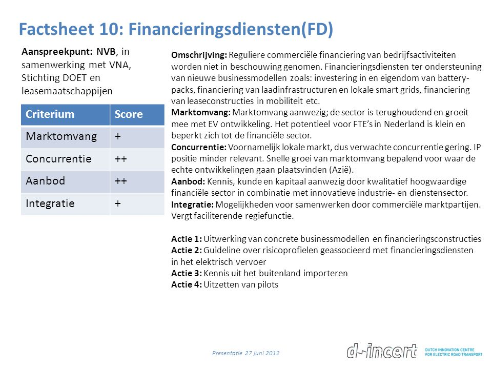 Factsheet 10: Financieringsdiensten(FD)